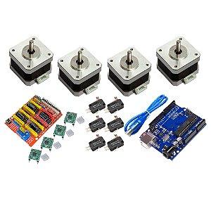 Kit CNC Shield Uno 4 Motor Nema 17 4Kg + 4 A4988