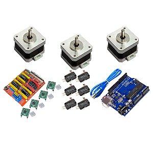 Kit CNC Shield Uno 3 Motor Nema 17 4Kg + 4 A4988