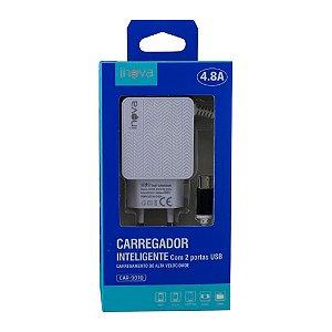 Fonte Carregador USB-C 100-240V 5V 4.8A 2 USB Inova