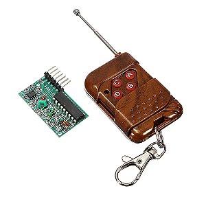 Kit Controle Remoto RF 4 Canais + Receptor RF 433Mhz
