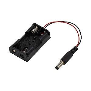 Suporte p/ Pilhas 2 x AA em Paralelo + Plug P4 - Preto