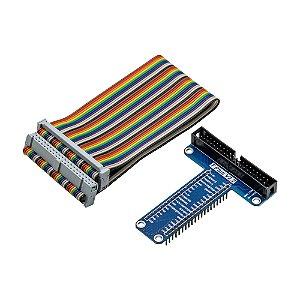 Placa GPIO T Plus V2.2 Raspberry Pi + Cabo 40 Pinos (Azul)