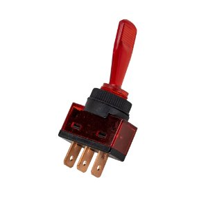Chave Alavanca ASW-13D c/ Neon 12V 3 Terminais (Vermelho)