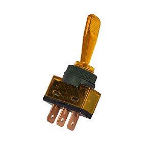 Chave Alavanca ASW-13D c/ Neon 12V 3 Terminais (Amarelo)