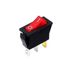 Chave Gangorra KCD2 16A 250V 3T Neon Vermelho