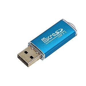 Leitor de Cartão Micro SD Card Adaptador USB (Azul)