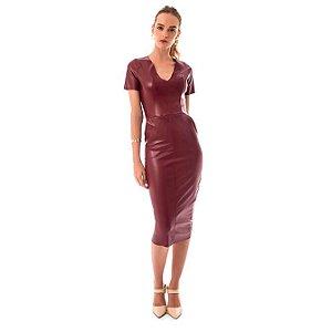 Vestido Leather - Vinho