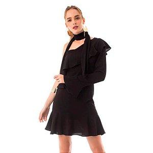 Vestido Ombro Único Babado - Preto