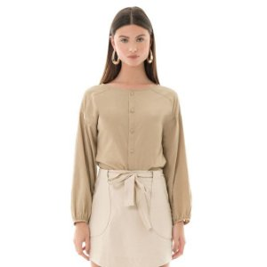 Camisa Poplin - Bege