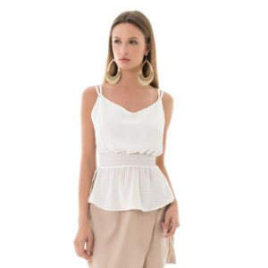 Blusa Alcinha Xadrez - Branco