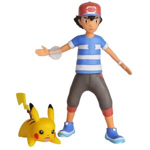 Pokemon Boneco Battle Feature Figure Ash e Pikachu Dtc 4843