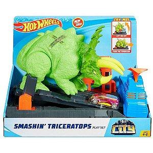 Nova Pista Hot Wheels Ataque de Ticeratops GBF97