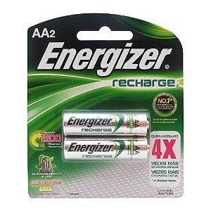 Pilha Recarregável AA 1400mah Energizer Cartela C/ 2 Pilhas