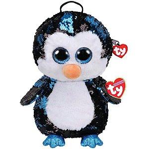 Nova Mochila Fashion Ty Paete Pinguim Waddles Azul Dtc 5017