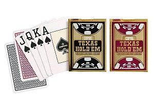 Kit de Baralhos Texas Holdem Vermelho e Preto Poker Size