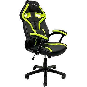 Nova Cadeira Gamer MX1 Giratoria Couro Preto e Verde Mymax