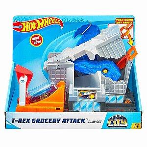 Hot Wheels City Ataque Do T-Rex Na Mercearia Mattel FNB05