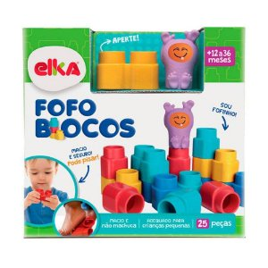 Brinquedo Blocos de Encaixe Fofo Blocos 25 peças Elka 1011