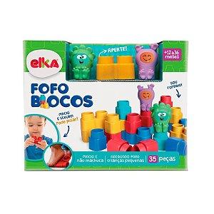Brinquedo Blocos de Encaixe Fofo Blocos 35 peças Elka 1012