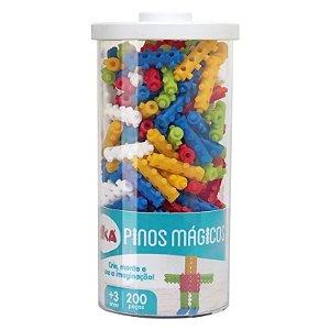 Brinquedo Blocos De Montar Pinos Mágicos Elka 200 Peças 1000