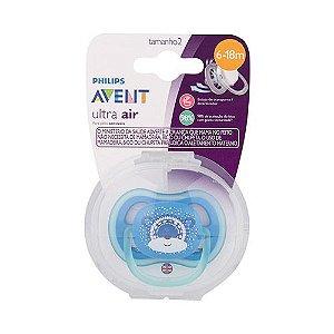 Chupeta Avent Ultra Air Azul Ursinho Single 6-18 Meses 5212