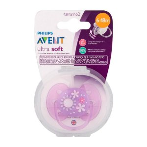 Chupeta Ultra Soft Lilas Flor 6-18m Philips Avent Scf529/12