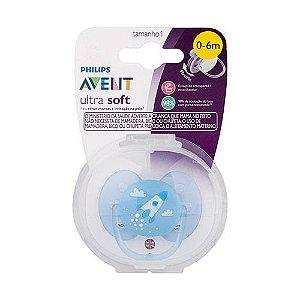 Chupeta Ultra Soft Foguete Azul 0-6m Philips Avent SCF522/10