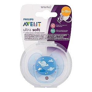 Chupeta Ultra Soft Céu Azul 0-6m Philips Avent Scf528/12