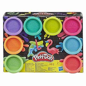 Massinha Play Doh Neon Mistura de Cores 8 Potes Hasbro E5063