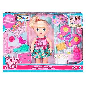 Boneca Baby Alive Borboletinha Festa Borboletas Loira B8279