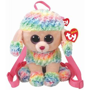 Bolsa de Pelucia Mochila Ty Gear Poodle Rainbow 4565