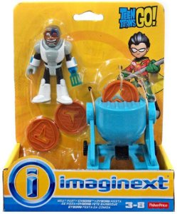 Boneco Jovens Titãs Cyborg Festa da Comida Imaginext Dtp28