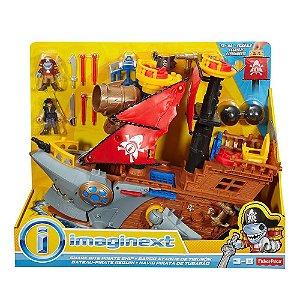 Novo Brinquedo Navio Pirata Tubarao Gigante Imaginext Dhh61