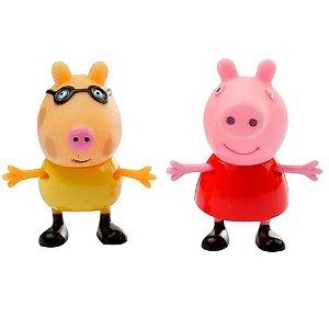 Bonecos Pim Pam Pum Peppa Pig e seus Amigos Peppa e Pedro