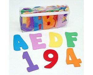 Brinquedo Alfanumérico Para Banho 56 Peças Em EVA Carlu 3117