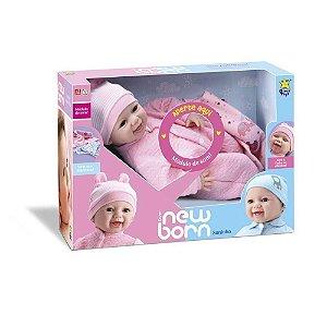 Boneca New Born Soninho Menina Olhos Moveis Divertoys 8065