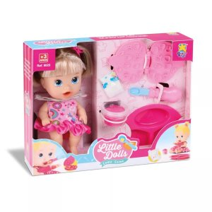 Boneca Little Dolls Come Come Loira Divertoys 8071
