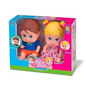 Bonecos Little Dolls Gêmeos Menino e Menina Divertoys 8037