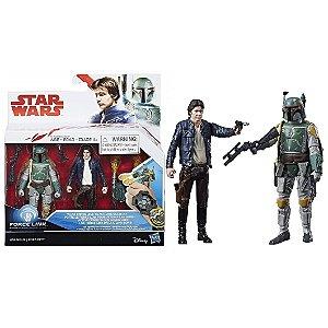 Novo Star Wars Force Link Han Solo e Boba Fett Hasbro C1242