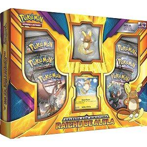 Box Cards Pokemon Tcg Raichu de Alola com Miniatura Copag