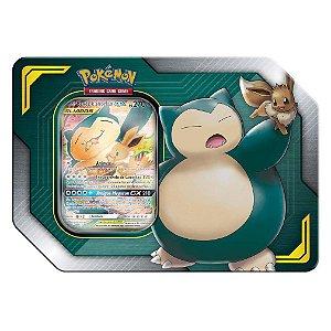 Pokemon Lata Porta Cards Aliados Gx Eevee e Snorlax Copag