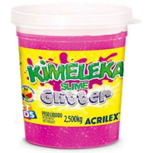Kimeleka Slime Glitter Balde 2,5 Kg Rosa Acrilex 05825