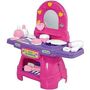Penteadeira Mini Glamour Rosa Com Acessórios Calesita 0330