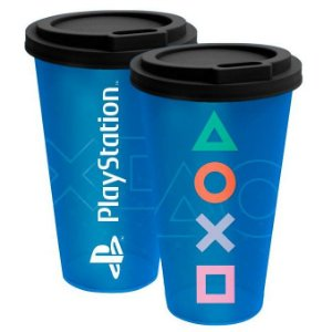 Copo com Tampa Fun 550mL Playstation Royal Azul Kathavento