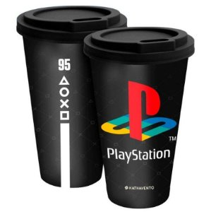 Copo com Tampa Fun 550mL Playstation Gamer Preto Kathavento