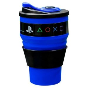 Copo Retratil Playstation Azul 400ml Kathavento Cpr1902PS