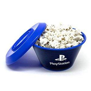 Mini Balde de Pipoca com Tampa Azul Playstation Kathavento