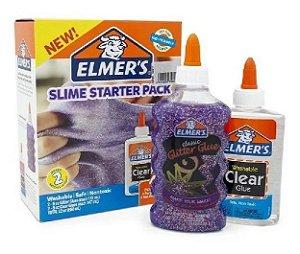 Kit Slime Com 2 Colas Glitters E 2 Colas Translucidas Elmers
