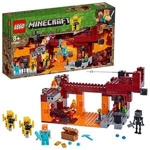 Lego Minecraft Ponte Flamejante 372 Peças e 3 Figuras 21154
