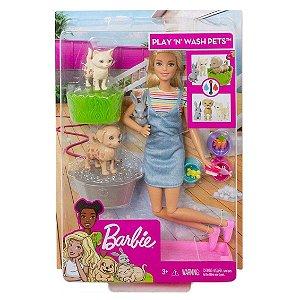 Boneca Barbie Conjunto Banho dos Cachorrinhos Mattel Fxh11